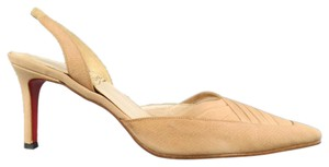 Christian Louboutin Pleated Satin Slingback Pointed Toe Red Bottom Beige Pumps
