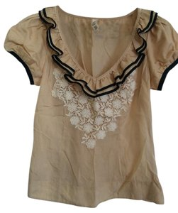 Floreat Anthropologie Crochet Silk Top Gold/ black/ white