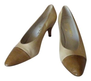 Chanel TAN & BROWN TOE CAP Pumps