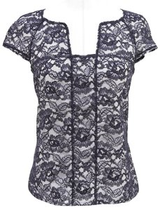 Chanel Top Navy, Black, White