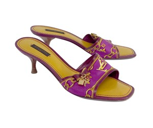 Louis Vuitton Magenta Yellow Slip On Kitten Heels Sandals