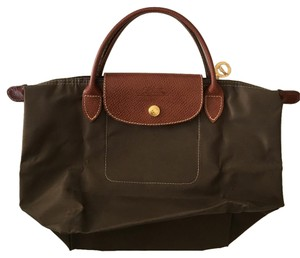 Longchamp Tote in Olive and Gold