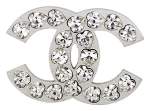 Chanel CLEARANCE #5800R Large CC Heart crystals logo Brooch