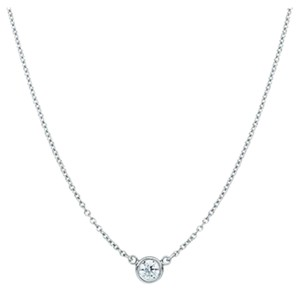 JewelryNest 14k Solid White Gold Solitaire Round Diamond Necklace