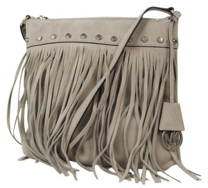 Michael Kors Fringe Leather Suede Studs Cement Clutch