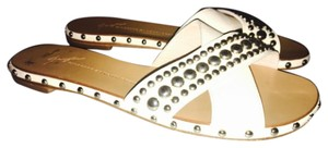 Giuseppe Zanotti Slides Studded Leather White Sandals