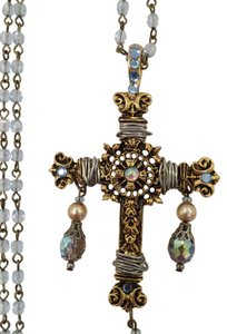 Treska Rosary Bead Crystal Necklace with Brass Cross Pendant