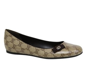 8514efcedf3241 Gucci Crystal Gg Interlocking G Ballet 317040 Brown Flats