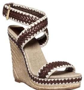 Tory Burch Lilah Woven Espadrille Sandal Brown Wedges