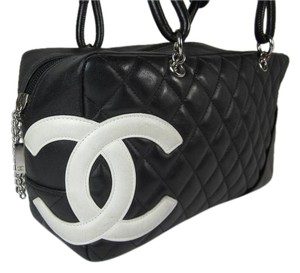 Chanel Black Cc Cambon Leather Bowling Shoulder Bag