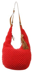Lucky Brand Macrame Red Crochet Hobo Bag
