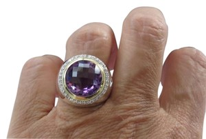 David Yurman SS/18k Cerise 14mm Amethyst/Diamond