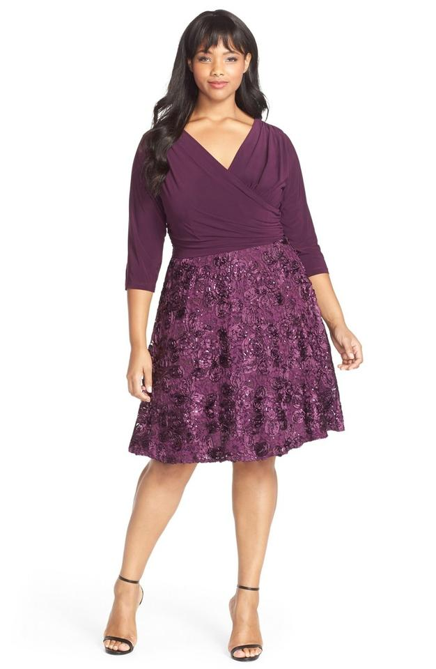 Purple Rosette Formal Dress