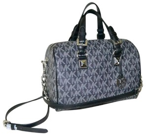 Michael Kors Handbag Speedy Satchel in Grey and Black MK Monogram