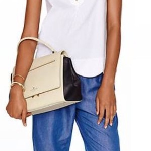 Kate Spade Leather Satchel in Black White Creme