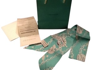 Tiffany & Co. TIFFANY & CO. BLUE AND SILVER SILK RIBBON/SCARF. #290-21-22417231