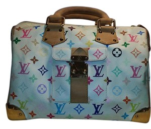 Louis Vuitton Gold Hardware Satchel in White Multi-Color