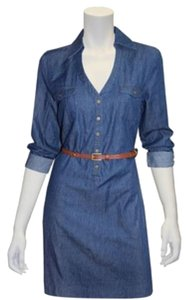 Beige by ECI short dress Blue Denim Cotton Belted on Tradesy