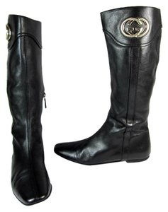 Gucci Black Leather Gg Moto Tall Boots