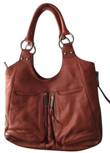 Perlina Leather Satchel in Orange