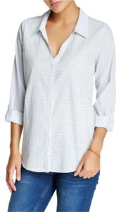 Joie Button Down Shirt Porcelain/Blue Lagoon