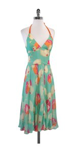 BCBGMAXAZRIA Turquoise Orange Floral Silk Dress