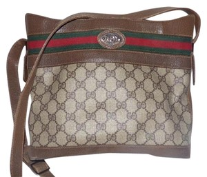Gucci For Everyday Satchel in brown leather & large G logo print coated canvas with red/green striped top accent
