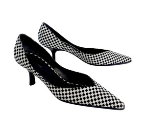 Giorgio Armani Black White Checkered Kitten Pumps