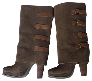 REPORT Chestnut suede w/ leather accent straps Boots