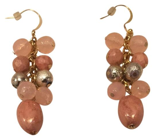 Unknown Peach And Gold Drop Earrings