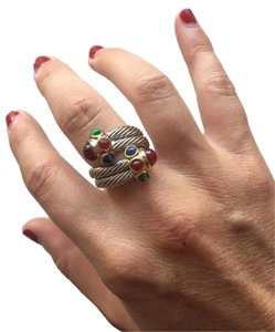 Double Crossover Two Tone Ring with Colored Stones