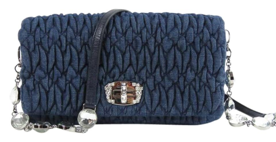 Miu Miu Crystal Small Matelasse Shoulder Denim Cross Body Bag - Tradesy 97cbaa5fb439b