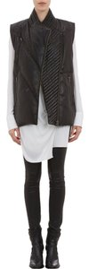 Helmut Lang Lambskin Leather Quilted Down Feather Long Vest