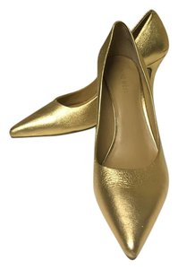 Nine West Leather Heels Gold Pumps