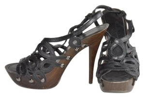 Jessica Simpson Leather Buckle Sandal Black Platforms