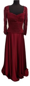 Cameron Blake Burgundy Mother Of The Bride Or Groom Or Wedding Guest & Chiffon Lace 115-8975 Bridesmaid/Mob Dress Size 6 (S)