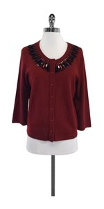 Kate Spade Burgundy Black Embellished Cardigan