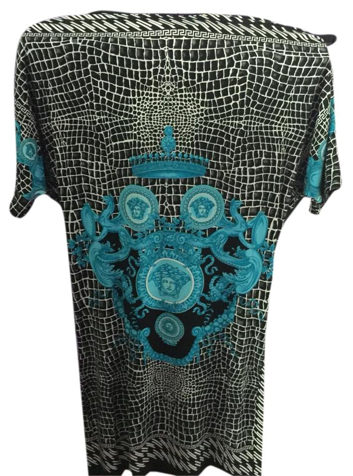 Versace Blackblue T Shirt Lunga Tessuto Donna Above Knee Short