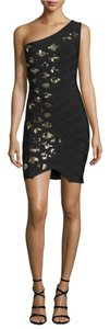Hervé Leger short dress Black Gold on Tradesy