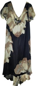 Black, Tan & White Maxi Dress by S.L. Fashions Floral Black Chiffon