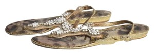 Sam Edelman Rhinestone Leather Gold Sandals