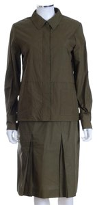 Chanel Army Green Jacket and Skirt Suit FR 40
