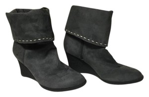 Gap Dark Suede Wedge Gray Boots