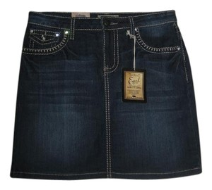 Earl Jean Rhinestone Buttons Mini Skirt Blue