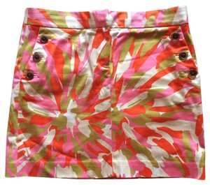 J.Crew Mini Skirt Pink/orange/cream multi