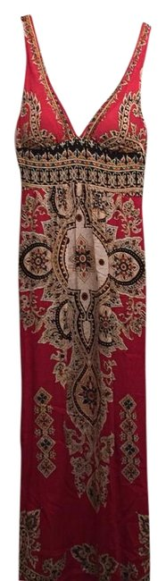 Item - Red Paisley Long Casual Maxi Dress Size 4 (S)