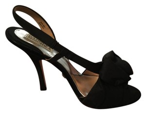 Badgley Mischka Party Stiletto Rose Detail Fabric black Formal