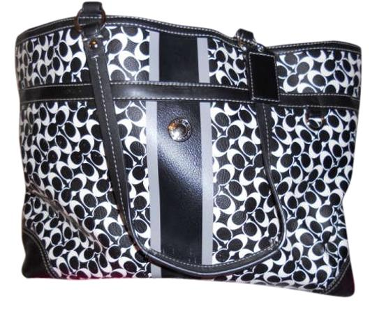 Preload https://item5.tradesy.com/images/coach-multifunction-bagtote-black-and-white-leather-diaper-bag-194949-0-0.jpg?width=440&height=440