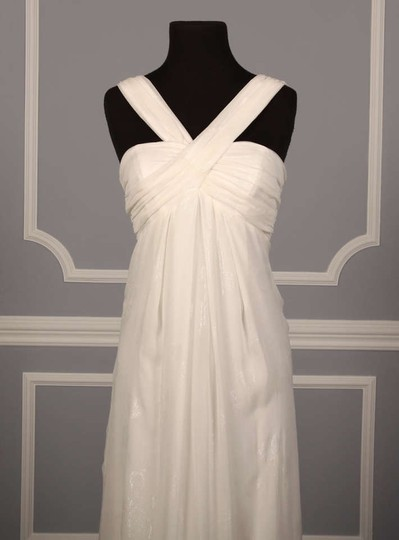 Nicole Miller Antique White (Diamond White) Silk Lurex Chiffon Cm0088 Melissa Formal Wedding Dress Size 4 (S)