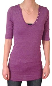 Michael Stars Style # M175 Maternity Elbow Sleeve V-neck Henley Tee